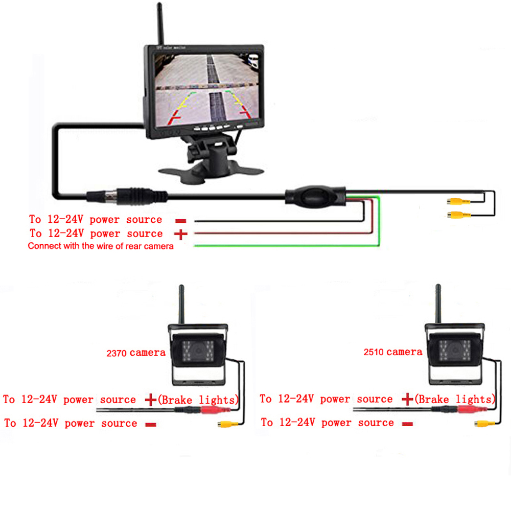 Dual Backup Camera Wiring Diagram Reversing Podofo Wireless Cameras 7 Car Monitor With Mirror