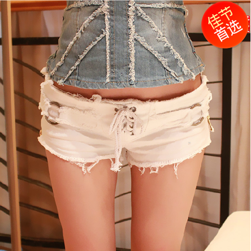 Summer casual black and white shorts female denim elastic super shorts hot slim trousers