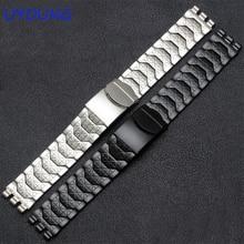 Bracciale in acciaio inossidabile con diamanti per Swatch YCS410GX accessori per orologi impermeabili da uomo in argento nero 19mm