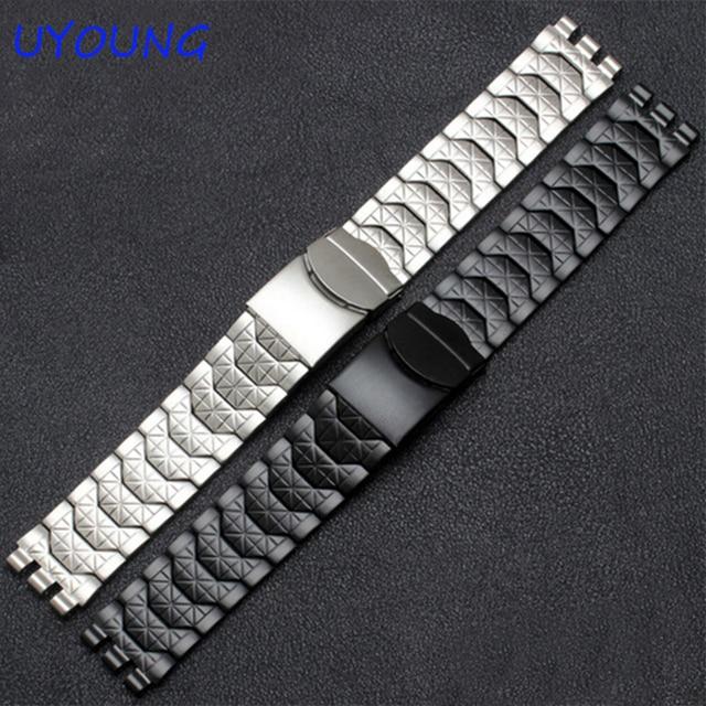 Diamant Edelstahl Armband für Swatch YCS410GX männlichen 19mm Schwarz Silber wasserdichte uhr zubehör
