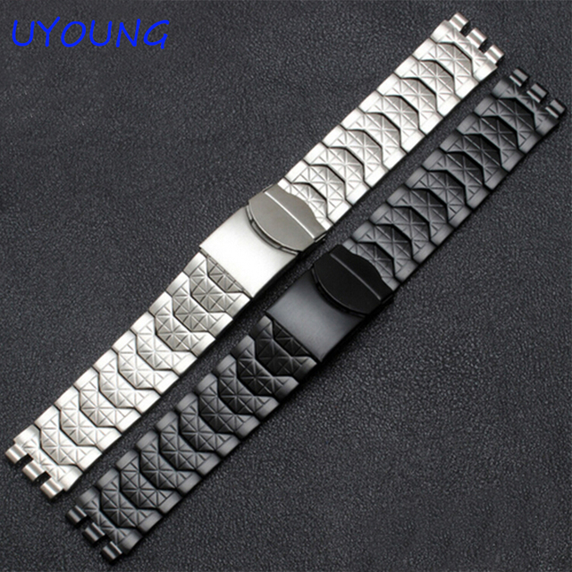 Diamante pulsera de acero inoxidable para swatch ycs410gx macho 19mm negro reloj impermeable de plata accesorios