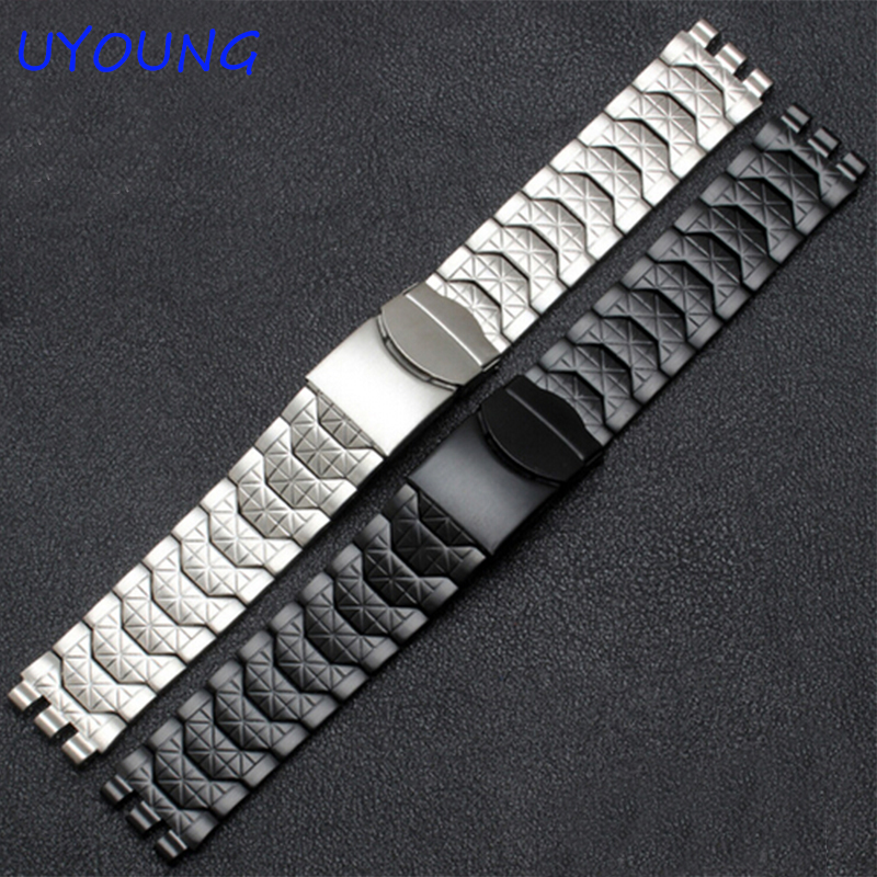 Diamond Stainless Steel Bracelet For Swatch YCS410GX Male 19mm Black Silver Waterproof Watch Accessories