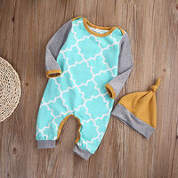 Baby Boy Girls Infant Romper Jumpsuit HAT Cotton Clothes Outfits Set 2017 New Baby Rompers Hot