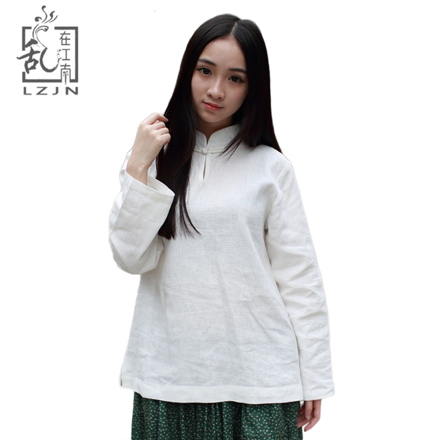 LZJN 2019 Autumn Women Tops and Blouses Long Sleeve Mandarin Collar Traditional Chinese Clothing Cotton Linen Shirt White Blouse