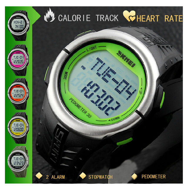 Fashion Outdoor Sports Watches Pedometer Heart Rate Monitor Calories Counter Digital Watch Sport Fitness Men Women Wristwatches