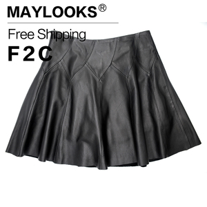 2018 Limited New Knee-length None Maylooks Women Leather Skirt Genuine Plus Size Pleated Skirts Solid Sheepskin Lady For Le021