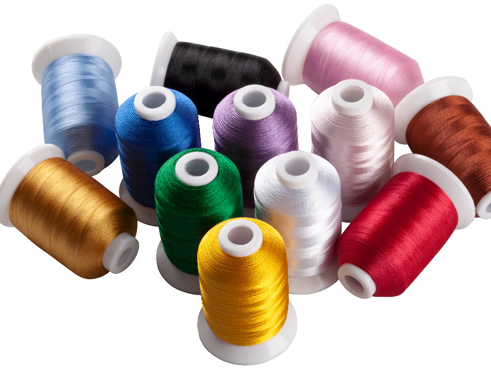 Simthread 12 Basic Colors/Kit Polyester Embroidery Thread For Brother / Babylock / Janome / Singer / Pfaff Embroidery Machine
