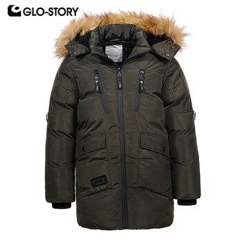 GLO STORY ヨーロッパブランド十代のキッズボーイズロングパーカー子供少年冬厚く暖かい詰めと Adjustabel 毛皮パーカー -