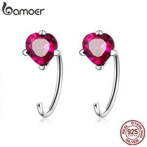 BAMOER Romantic New 925 Sterling Silver Heartbeat Shape Pink Red CZ Stud Earrings for Women Fashion Silver Jewelry SCE531