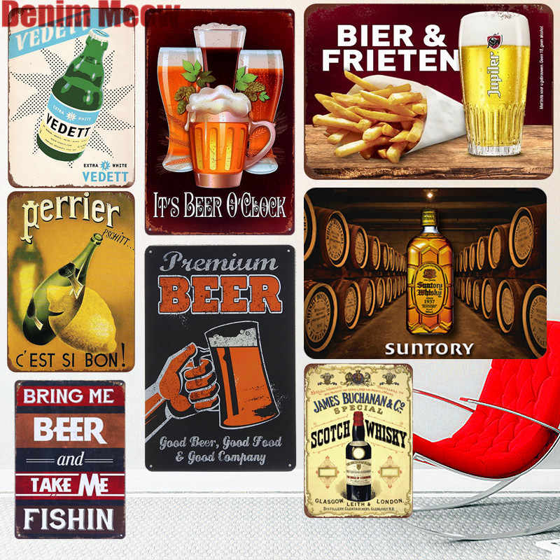 Placa de cerveza Perrier, Vedett, carteles de Metal, BAR, Pub, hogar, placas decorativas Vintage, cartel artístico de vino, whisky, pegatinas de pared A627