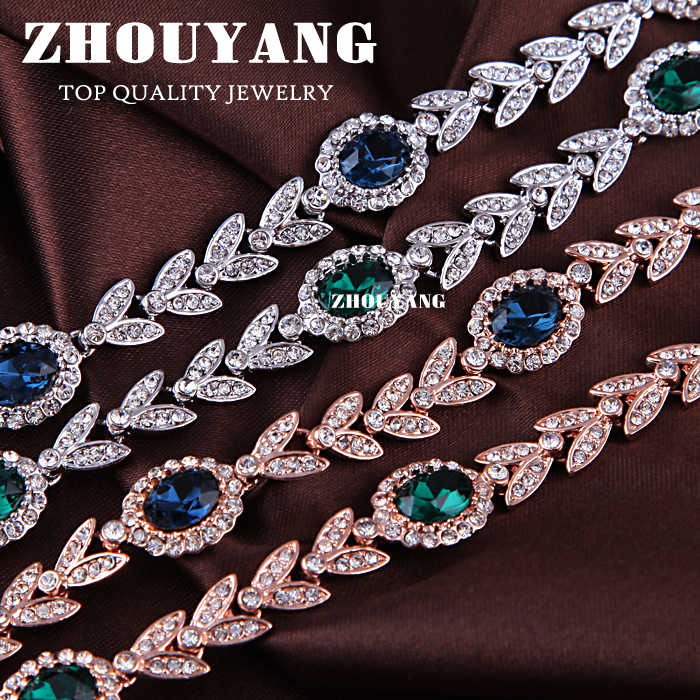 Zhouyang Chất Lượng Hàng Đầu ZYH047 Cành Ô Liu Pha Lê Xanh Dương Vòng Tay Bạc Trang Sức Áo Tinh Thể