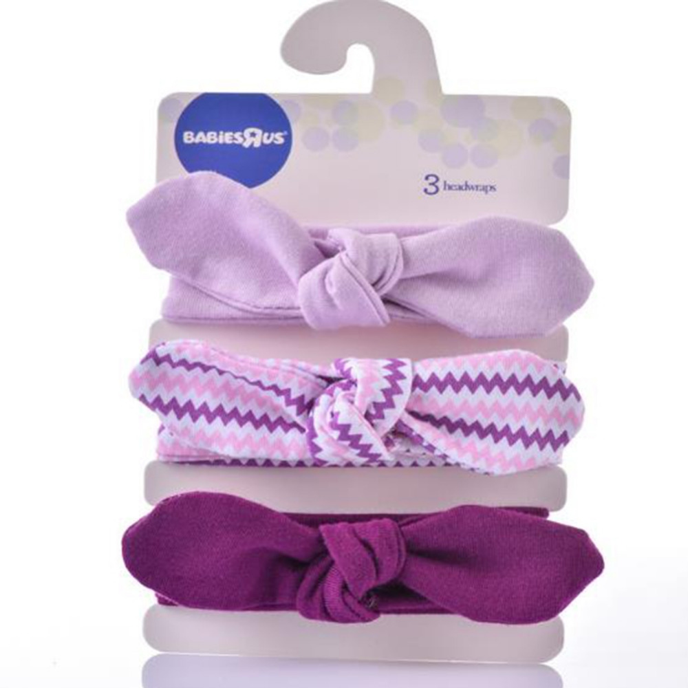 3 Pcs /Set Toddler Girls Kids Baby Elastic Bow Hairband Headband Turban Knot Head Wrap