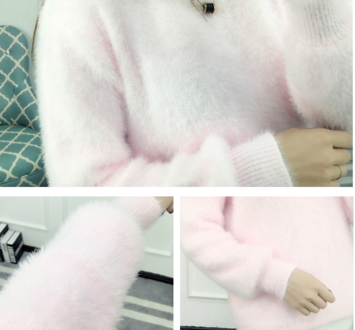 19 Sweater Women Fashion Casual Simple Lantern Sleeve Solid Color Loose Comfort Cashmere Knitting Mohair Fur Pullover USWMIE 7