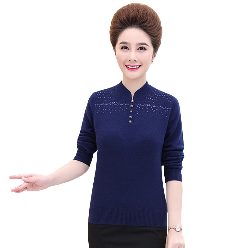 2018 New Spring Autumn Send Mom Big Size stand Collar Wool Sweater Short Middle aged Mother Installed Warm Female Pullovers W467