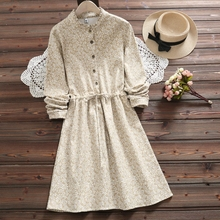Autumn winter floral print dress new style warm soft thick long sleeve vintage dress for women vestidos invierno 2018