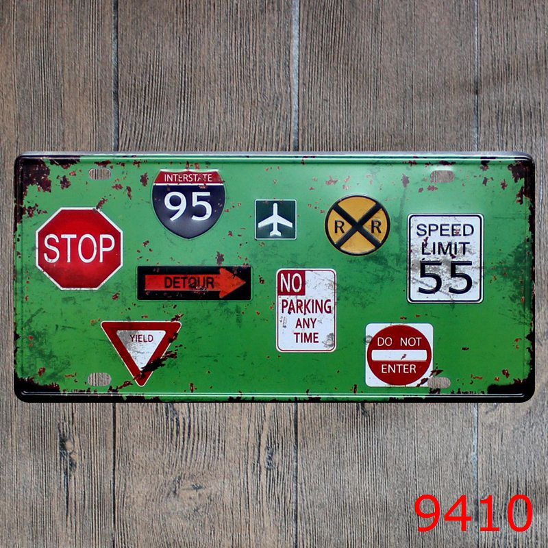 Car number  Traffic sign stop  License Plates plate Vintage Metal tin sign Wall art craft painting 15x30cm