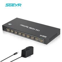 SGEYR 1×8 Splitter HDMI 8 Port Splitter V1.3/V1.4 HDMI 1 Em 8 Suporte 3D, Full HD 1080 P, 4 K x 2 K HD Exibição em 8 TVs de Metal caso