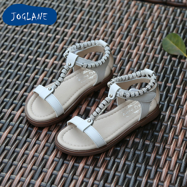 a68639282cb442 Girls Beading Sandals 2018 April Summer Children Princess Fashion Breathable  Sandals Kids Open Toe Anti Slip Sandals Shoes