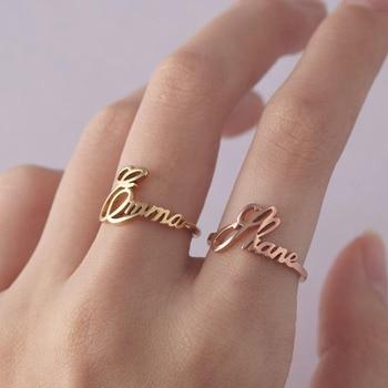 Anillo de nombre personalizado, anillos de fuente especiales, joyería de acero inoxidable de oro personalizado, anillos de boda ajustables, joyería para mujer