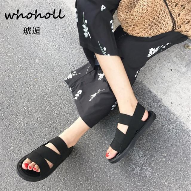 WHOHOLL 2018 летние сандалии-гладиаторы Для женщин обувь римские сандалии Женские босоножки туфли на плоской подошве с открытым носком женские сандалии mujer sandalias