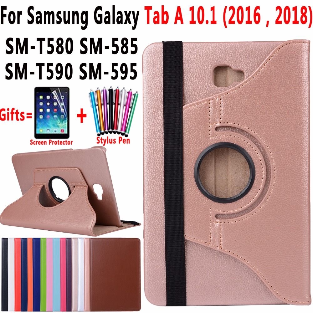 360 Degree Rotating Leather Case Cover for Samsung Galaxy Tab A A6 10.1 2016 2018 T580 T585 SM-T580 SM-T585 T590 T595 Coque Capa tab a6 10 1 360 degree rotating folio pu leather case flip cover for samsung galaxy tab a 6 10 1 t580 t585 10 1 tablet case