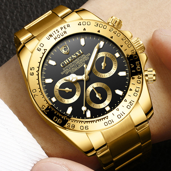 цена на CHENXI Gold Wrist Watch Men Watches Top Brand Luxury Famous Golden Quartz Wristwatch For Male Clock Reloges Relogio Masculino
