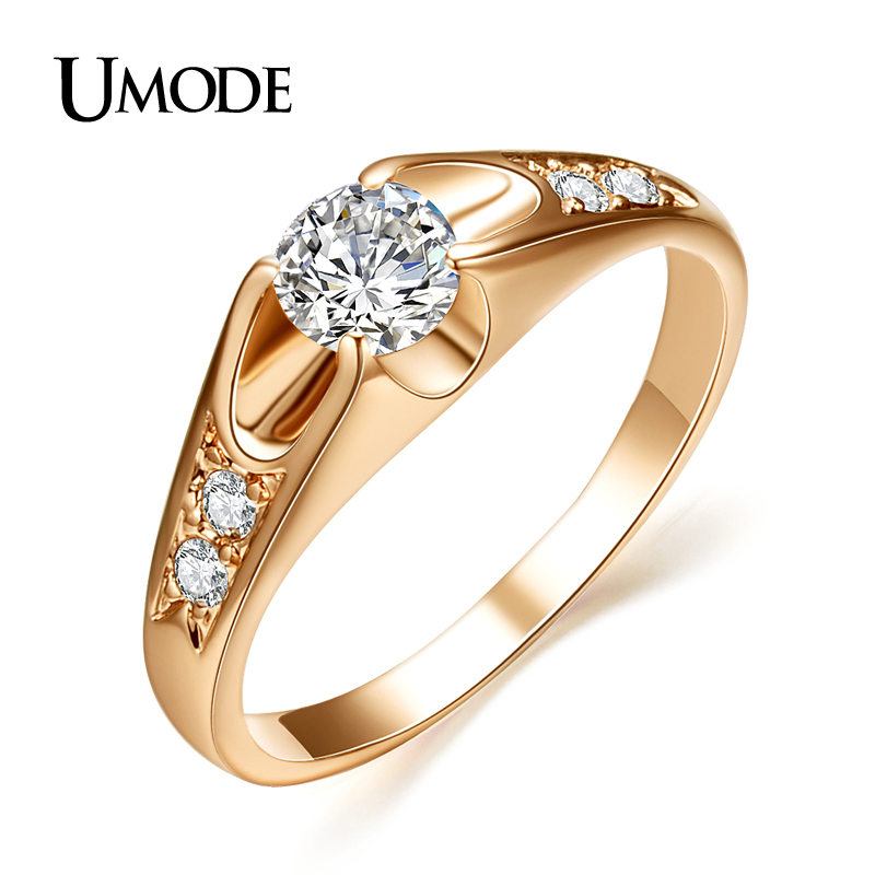 UMODE Кольца для помолвки с покрытием из розового золота 18к и фианитами 0,5к JR0064A