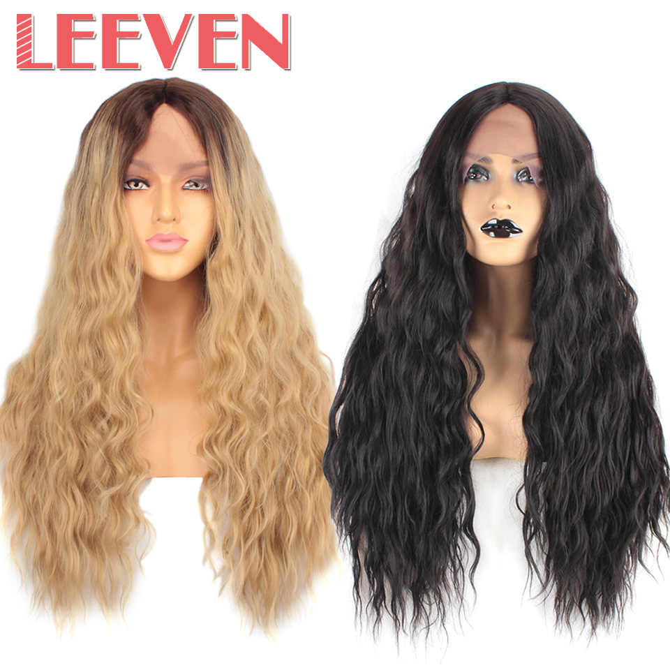 Leeven Synthetic Lace Front Wig 26inch Long Water Wave Wigs Blonde Ombre Black Lace Front Hair Wigs For Woman Wigs