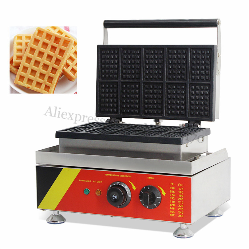 Electric Danco Waffle Machine Stainless Steel Rectangle Waffle Baker Maker With 10 Moulds In One 220V 110V economic and elegance waffle maker machine baker doulbe head electric churros with bar shaped and popsicle