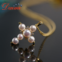 DAIMI Cross Necklace 925 Silver Cross Natural Pearl Pendant Necklace Silver Charm Necklace