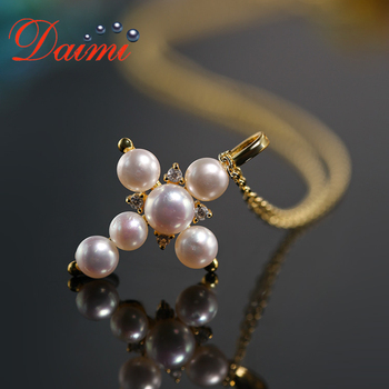860ea84c39f0 DAIMI Cruz collar 925 cruz de plata Natural perla colgante collar plata  encanto collar