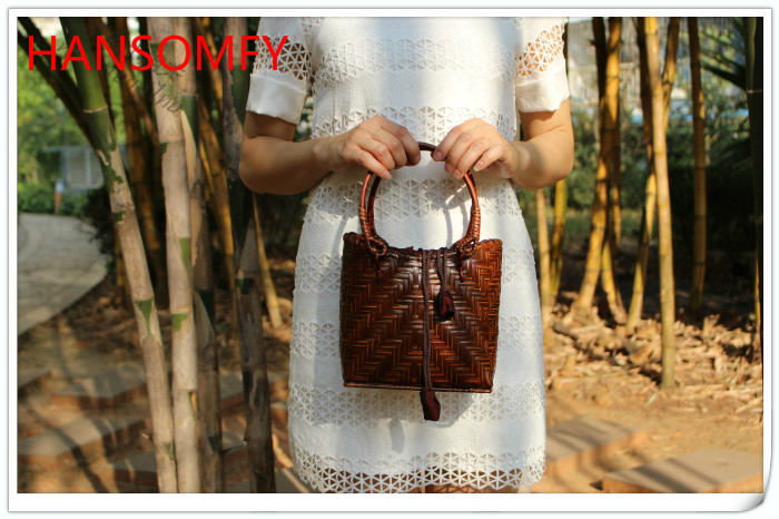 HANSOMFY   Плетеная соломенная сумка ручной работы в богемном стиле, Пляжная летняя шикарная мини бамбуковая сумка, Экологически чистая Праздни...