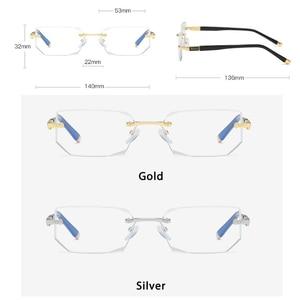 Image 3 - Anti Blue Ray Computer Rimless Reading Glasses Aspherical 12 Layer Coated Lenses Business Hyperopia Prescription Eyeglasses