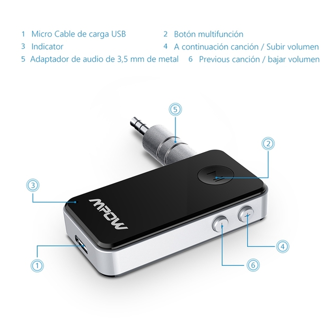 Mpow MBR1 Streambot Mini Hands Bluetooth Receiver Wireless Adapter Free Audio Car-Styling 3.5mm Stereo Output Music Streaming
