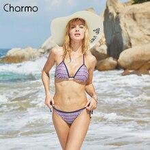Charmo Women Sexy triangle Bikini Set Vintage Print Swimwear Side Bandage halter Swimsuit Bathing Suit Padded Push Up Beachwear