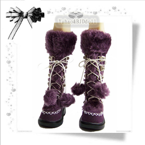 1/3 BJD Doll Boots Purple sd luts bjd dz autumn and winter boots uncle 1 3 1 4 1 6 doll accessories for bjd sd bjd eyelashes for doll 1 pair tx 03