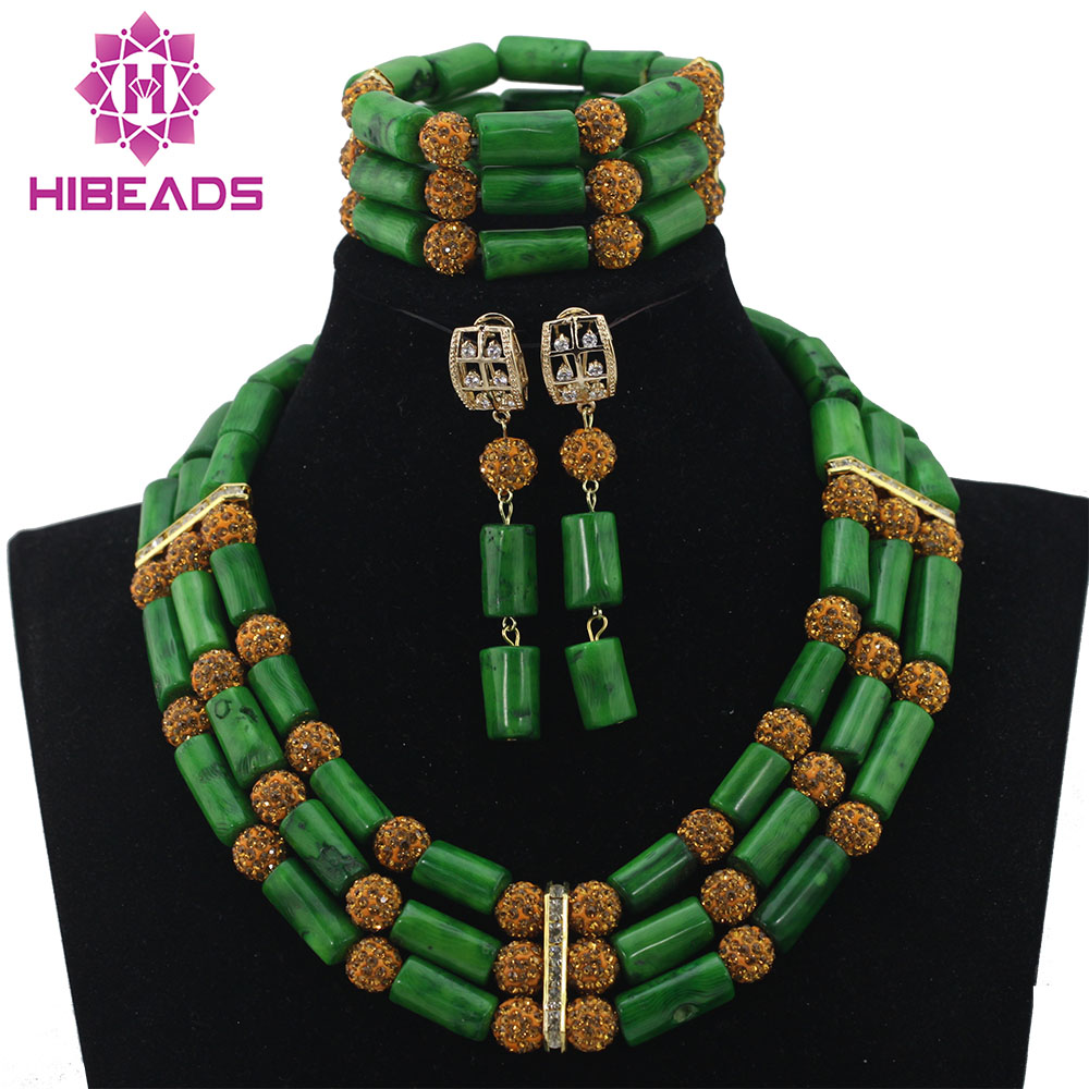 Green Coral African  Beads Jewelry Set Nigerian Beads Necklaces Statement Necklace African Jewelry Beads Free Shipping ABL678