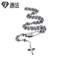 Men Jewelry Newest Design Hematite Semi Pricious Beads Stainless Steel Cross Rosary Necklaces High Quality Free