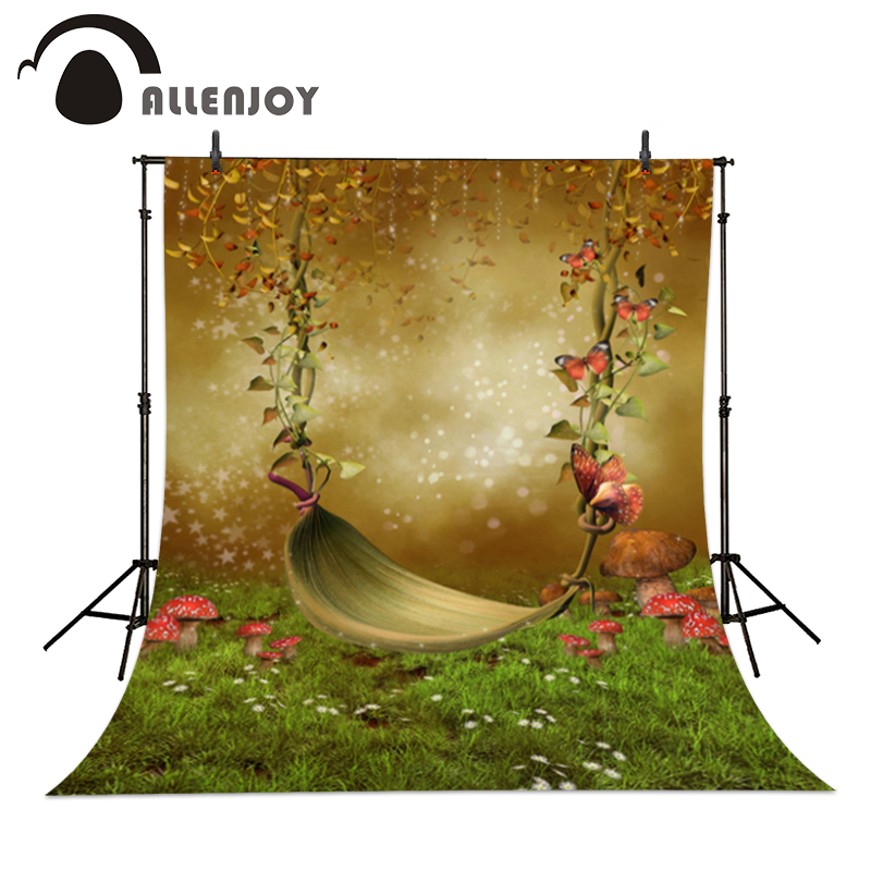 Vinyl photo studio background Hammock in Wonderland fantasy butterfly backdrop picture children's photocall allenjoy backdrop background wonderland