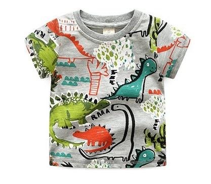 High-quality Brand Summer boys girls short-sleeve t-shirt Jurassic World dinosaur Print 100% Cotton Kid Clothes todder Tees tops