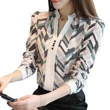 New Style Summer Fashion Women Printed Long Sleeve V Collar Slimming Chiffon Shirts Blouses