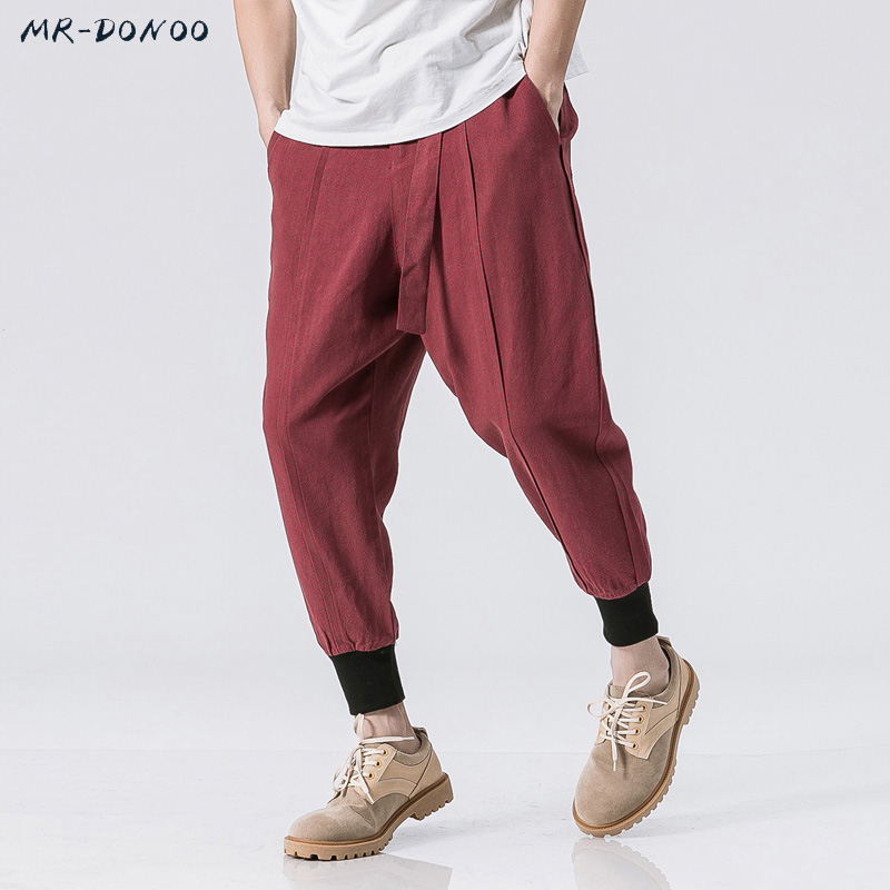 MRDONOO Summer Linen Cotton Men Casual Korean small feet Harem Pants Chinese Style Loose Male Trousers Size M-5XL B375-K52