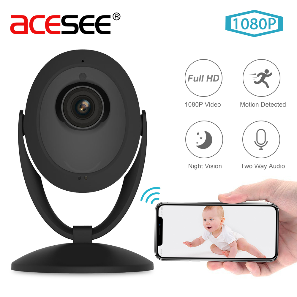 Acesee Wifi IP Camera 1080P Smart Home Security Camera System Wireless Indoor Camera Night Vision Baby Monitor IPcam Mini Camara leshp smart home security camera system personal wireless lighting table lamp smart 2mp image sensor wifi mini ip camera