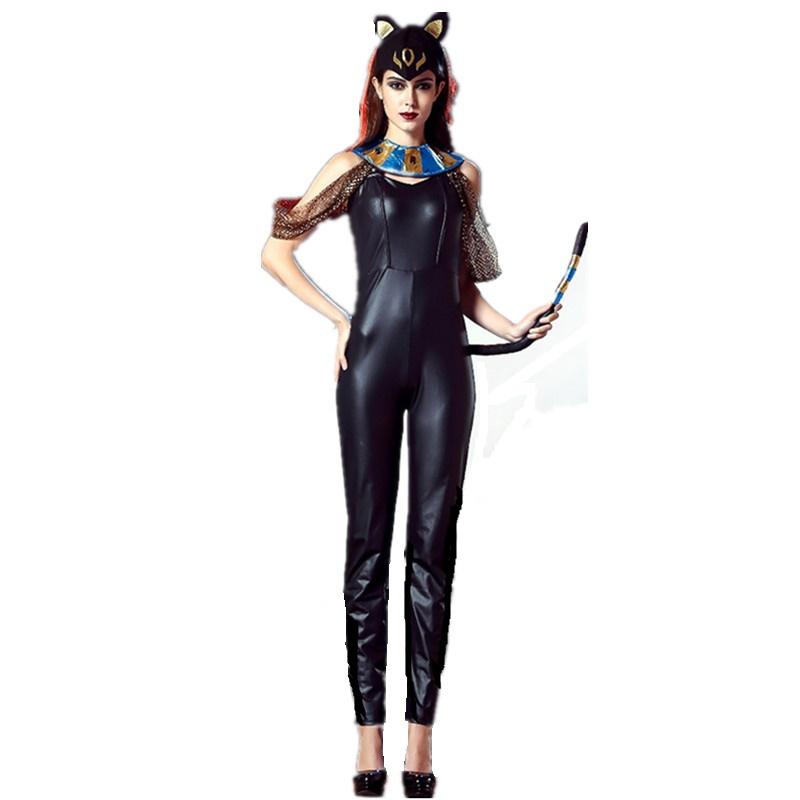 Sexy Egyptian Cat Goddess Costume Women Black Catsuit Jumpsuit Egyptian Halloween Costumes Adults Egypt Warrior Goddess Outfits