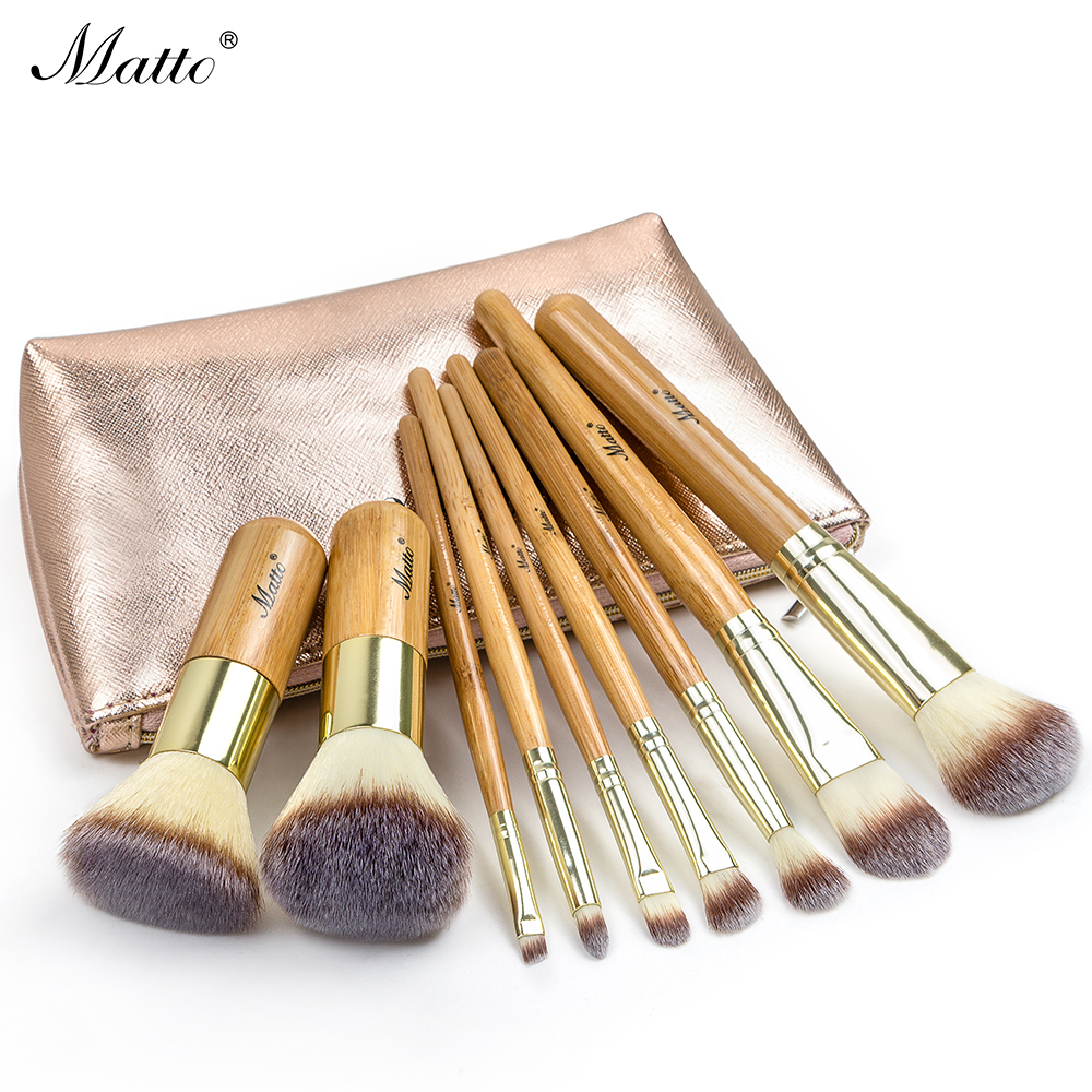 Matto Makeup Brushes Set Cosmetics Foundation Bamboo Make Up Brush Tools Kit for Powder Blusher Eye Shadow Eyeliner 9pcs free shipping 3 pp eyeliner liquid empty pipe pointed thin liquid eyeliner colour makeup tools lfrosted purple