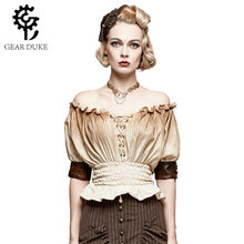 Brown Lace Up Ruffles Slash Neck Short Sleeve Elastic Slim Waist Vintage Shirts Women Steampunk Clothing Victorian Gothic Blouse(China)