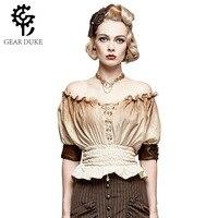 Brown Lace Up Ruffles Slash Neck Short Sleeve Elastic Slim Waist Vintage Shirts Women Steampunk Clothing Victorian Gothic Blouse