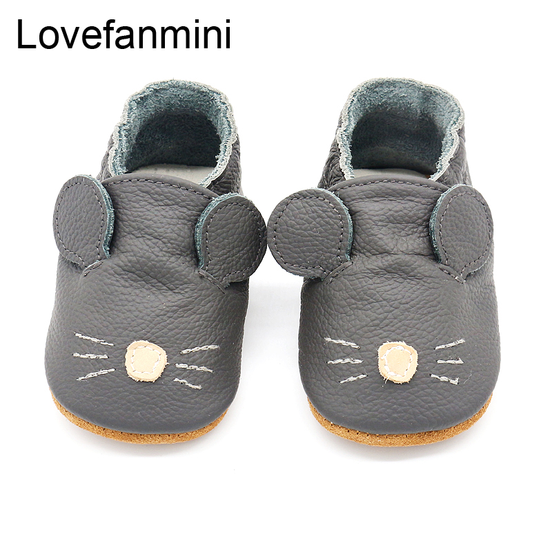 Baby Shoes Soft Genuine Cow Leather Baby Boys Girls Infant Toddler Moccasins Shoes Slippers First Walkers Non-slip Mouse 104