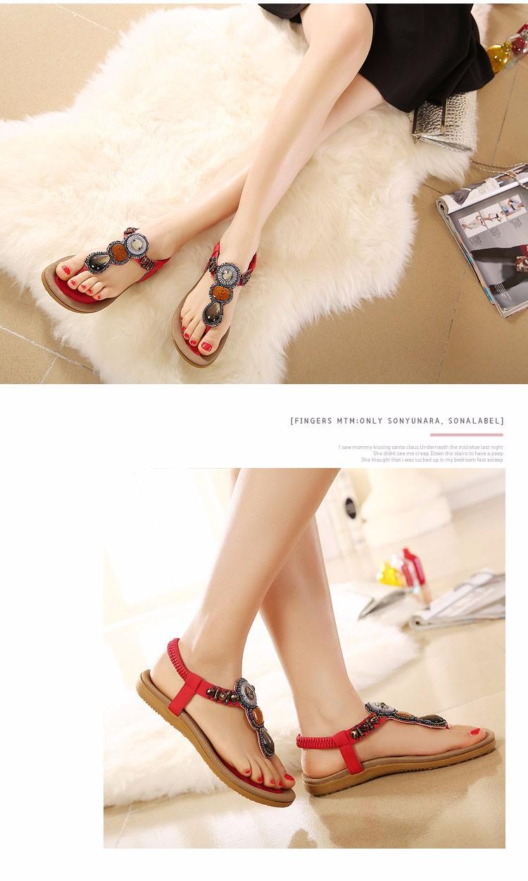 ea4f3071b9fa05 13 7 Hot Sale 2016 Summer New Fashion Woman Sandals Beads Bohemia Flat Shoes  Wild Woman Casual Shoes ...