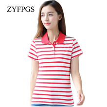 ZYFPGS 2019 Summer Top Casual Women Polos T Striped Basic Short Sleeve Femme Plus Size Slim Fit High Quality 6XL L0521